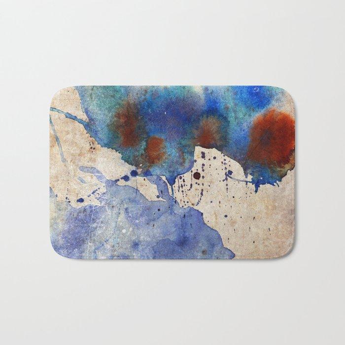 Blue Color Splash Bath Mat