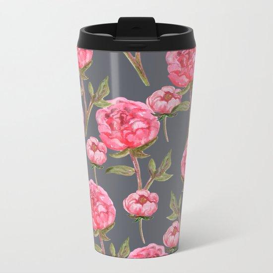 Pink Peonies On Grey Background Metal Travel Mug