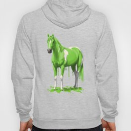 Neon Green Wet Paint Horse Hoody