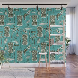 Tropical Tiki - Aqua Wall Mural
