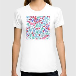 Sophisticated Floral Pattern With Pink and Red Accents T-shirt