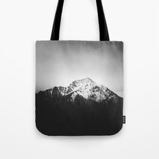 Black and white snowy mountain Tote Bag