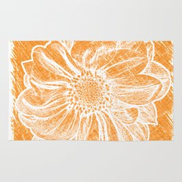 White Flower On Warm Orange Crayon Rug