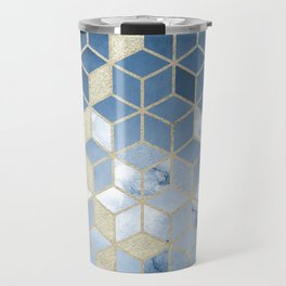 Shades Of Blue Cubes Pattern Travel Mug