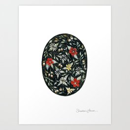 Southwest Style Oval Floral Gouache Painting Art Print