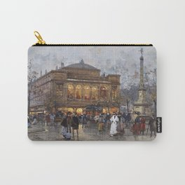 Theater du Chatelet, Paris Opera House, France portrait painting by Eugene Galian Laloue Carry-All Pouch