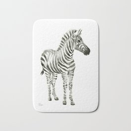 Zebra Watercolor Baby Animals Bath Mat