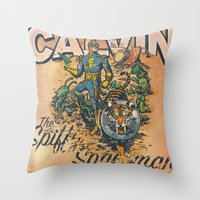 calvin Throw Pillows featuring Calvin: The Spiffy Spaceman by Captain_RibMan