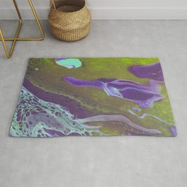 Fluid Art Acrylic Painting, Pour 32, Green, Purple, & Turquoise Blended Color Rug
