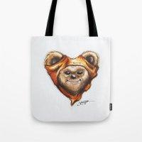 ewok Tote Bags featuring Ewok Star Wars Heart Art by Sam Skyler