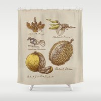 clockwork orange Shower Curtains featuring Steampunk Fruit  by Eric Fan