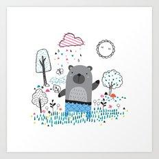Bear In the Garden Art Print