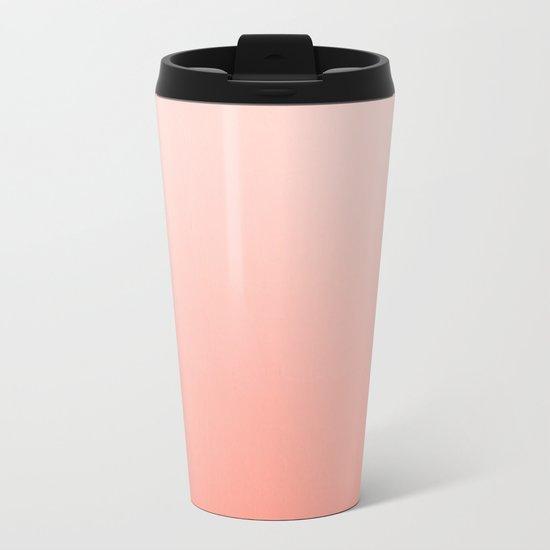 Ombre pastel fade peach blush coral gender neutral basic canvas art print minimalist Metal Travel Mug