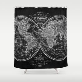 Black and White World Map (1842) Inverse Shower Curtain
