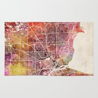 detroit Area & Throw Rugs featuring Detroit by MapMapMaps.Watercolors