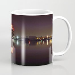 Sugar Glow feature the neon sign of the Domino Sugar factory on Baltimore Maryland's Inner Harbor Coffee Mug