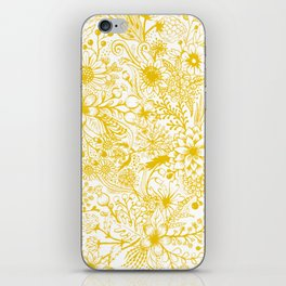 Yellow Floral Doodles iPhone Skin