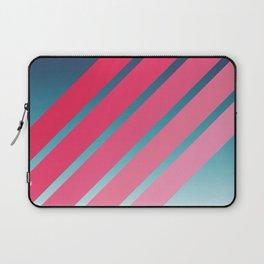Pink Stripes on Blue Gradient Laptop Sleeve
