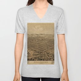 Map Of Kalamazoo 1874 Unisex V-Neck