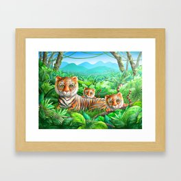 Tiger and Cubs Framed Art Print