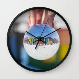 Changing Rooms at the Beach Wall Clock