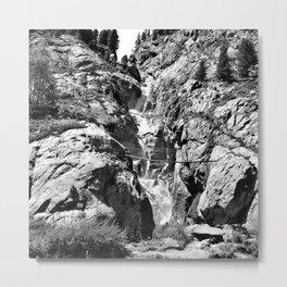 waterfall rope bridge kaunertal alps tyrol austria europe black white 1 Metal Print