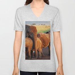 12,000pixel - 500dpi, High Quality Photograph - Waterside Elephant Family III Unisex V-Neck