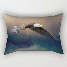 Painting flying american bald eagle Rectangular Pillow