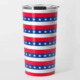 Red White Blue Stars Stripes Patriotic Travel Mug