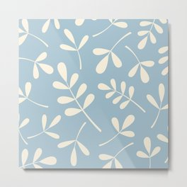 Cream on Blue Assorted Leaf Silhouettes Metal Print