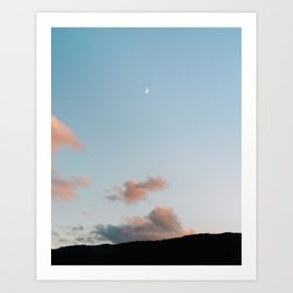 Pastel moody sunset clouds with a small moon  Art Print