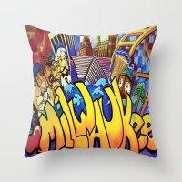 milwaukee Throw Pillows featuring MILWAUKEE: heartMilwaukee by Amanda Iglinski