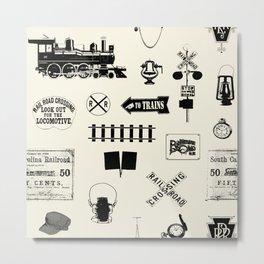 Railroad Symbols // Beige Metal Print
