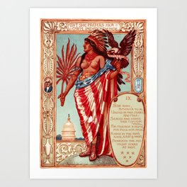 "Walter Crane ""Columbia's Courtship - Declaration of Independence"" Art Print"
