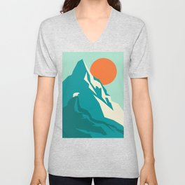 As the sun rises over the peak Unisex V-Neck