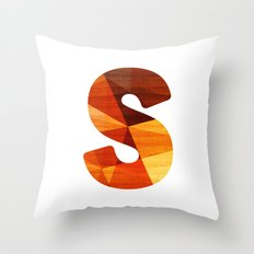 Letter S - Initial Wood Alphabet Throw Pillow