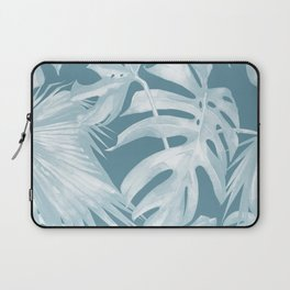 Teal Blue Tropical Palm Leaves Laptop Sleeve