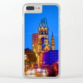 Berlin nightlife - Kaiser Wilhelm Memorial Church Clear iPhone Case