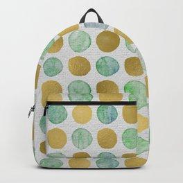 golden dots, watercolor dots, mixed media, pattern, seamless pattern, texture, golden, paint, design Backpack