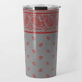 Classic Gray and Red Bandana Travel Mug