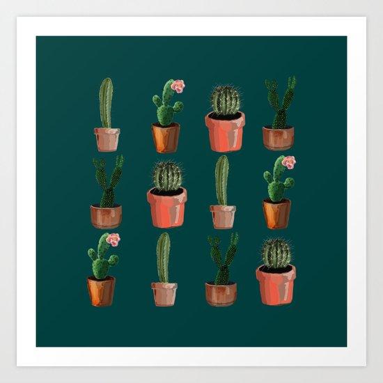 Various Cacti Green Art Print
