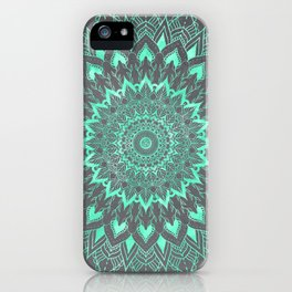 Boho turquoise watercolor floral mandala on grey cement concrete iPhone Case