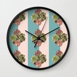 When Floral Meets Succulent (Mint & Blush) Wall Clock