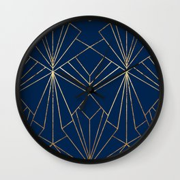 Navy & Gold Art Deco - Large Scale Wall Clock