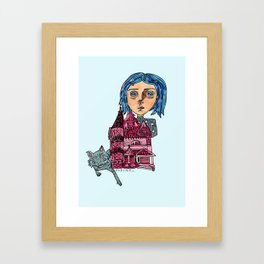 Coraline and Kitty Framed Art Print