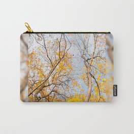Yellow autumn leaves on trees in park Carry-All Pouch