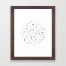 Constellation Map - White and Indigo Framed Art Print