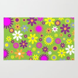 Flowers, Petals, Blossoms - Green Purple Pink Rug