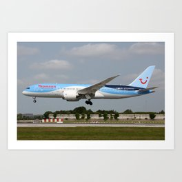 Thomson Airways Boeing 787-800 Dreamliner on approach to Manchester Airport Art Print