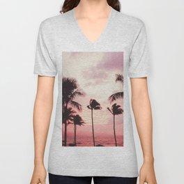 Tropical Palm Tree Pink Sunset Unisex V-Neck